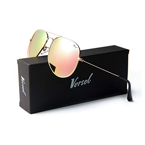 (Versol Aviator Sunglasses for Men Women Polarized Metal Frame and UV 400 Protection 60mm - Premium Classic Style (Bobby Pink Mirror Lens + Gold))