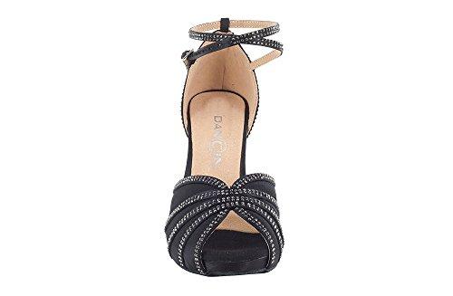 Scarpa da ballo donna con plateau in raso nero e crystal strass tacco stiletto cm 7.5 suola DRS