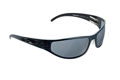 ICICLES Bagger Flames Smoke Mirror Lens Sunglasses with Matte Black Frame