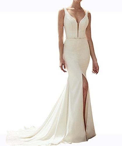 Schlitz Langes Brautkleid Weiß Aiyana Abendkleider Kleid Meerjungfrau Jahrgang Ausschnitt V Damen Rueckenfrei Satin BEx4qZf4Y