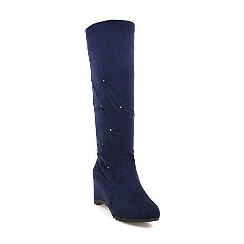 Inside Flatform Boots Urethane Thigh Womens BalaMasa ABL09704 Ruched Ruched High Blue Heighten wqEIwBR