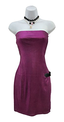 Women's Strapless Slinky Foil Wrap Mini Dress (Large, Purple) (Foil Slinky)