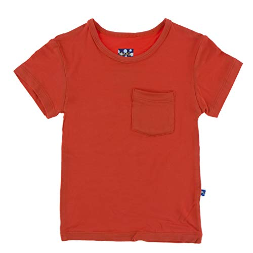 KicKee Pants Solid Short Sleeve Easy Fit Tee with Pocket in Poppy, 6-12 ()