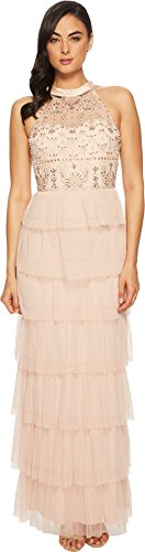Beaded Bodice Gown - Adrianna Papell Women's Long Fuffle Boho Halter Gown With Beaded Bodice Blush 10