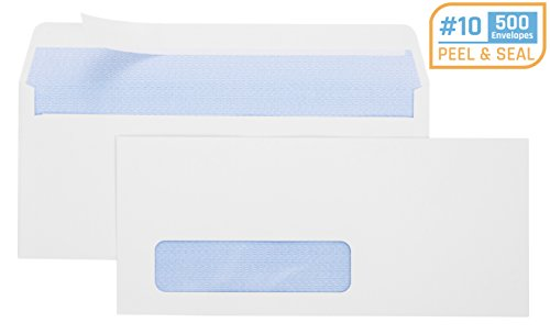 Office Deed 500 #10 Envelopes SELF SEAL Business Envelope Single Window Design, Security Tint Pattern for Secure Mailing, Invoices, Statements & Legal Document, 4-1/8 x 9-1/2 Inches ()