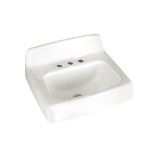 - American Standard 4869.008.020 Regalyn Enameled Cast Iron Wall Hung Sink with 8-Inch Faucet Spacing, White