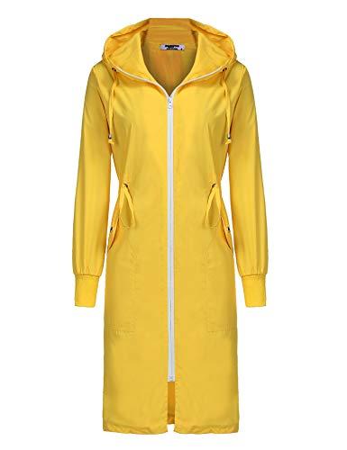 - ELESOL Long Windbreaker Hoodie Rain Jacket Women Lightweight Waterproof Raincoat Yellow