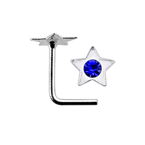 Dark Blue Jeweled Flat Star Top 22 Gauge Silver L Shape - L Bend Nose Stud Nose Pin ()