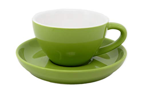 Cappuccino Cup and Saucer,Durable Porcelain 8 Ounce Capacity for Specialty Coffee Drinks, Latte, Cafe Mocha (green, 1)