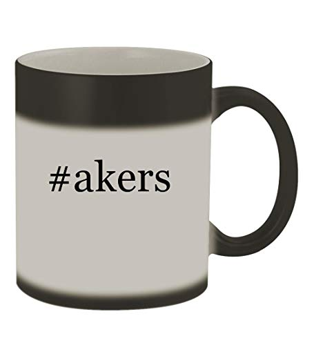 #akers - 11oz Color Changing Hashtag Sturdy Ceramic Coffee Cup Mug, Matte Black