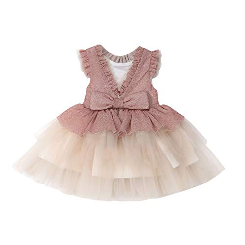 (6M 5Y Princess Newborn Kids Baby Girls Formal Party Dress Ball Gown Lace Patchwork Ruffles Sleeve Dress Kid Costumes)