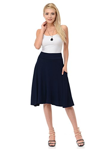 iconic luxe Women's Jersey Full A-Line Midi Skirt with Pockets Medium ()