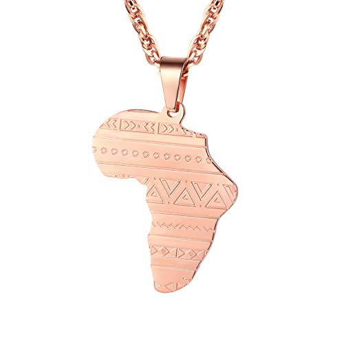 PROSTEEL Africa Map Jewelry Rose Gold Plated Stainless Steel Pendant & Chain Men Women Gift Ethiopian African Friendship Necklace by PROSTEEL