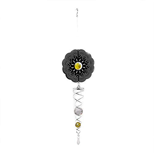 Ymeibe Metal Sun Wind Spinner Hanging Garden Wind Spinner with Helix Spiral Tail and Glass Ball 3-D Stainless Steel Kinetic Twisting Decor for Patio, Deck or Yard by Ymeibe