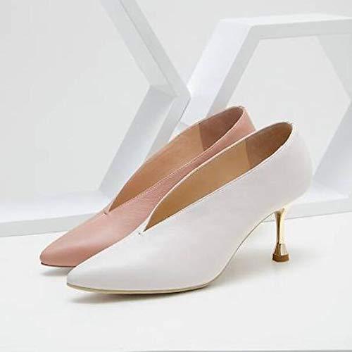 Pointu ZHZNVX Bout Femme Cuir Talon Blanc Pink Aiguille Talons Nappa Été Confort Chaussures Rose vHqrzv