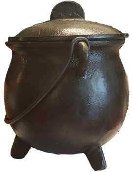 Wood Burning Fireplace Accessories Cauldrons Plain Cast Iron Three Legged with Handle and Lid Large 8''