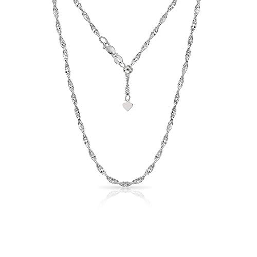 Verona Jewelers Sterling Silver 1.5MM Adjustable Singapore Chain Twist Chain Necklace for Women- 24