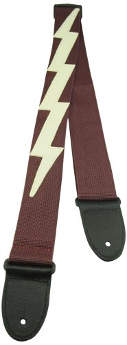 - Perris Leathers NWSLBDX-96 Garment Leather Ends Guitar Strap Poly Pro Webbing Lightning Bolt, 2