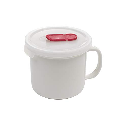 Good Cook 722545 Ceramic Mug with vented lid, 20oz, White