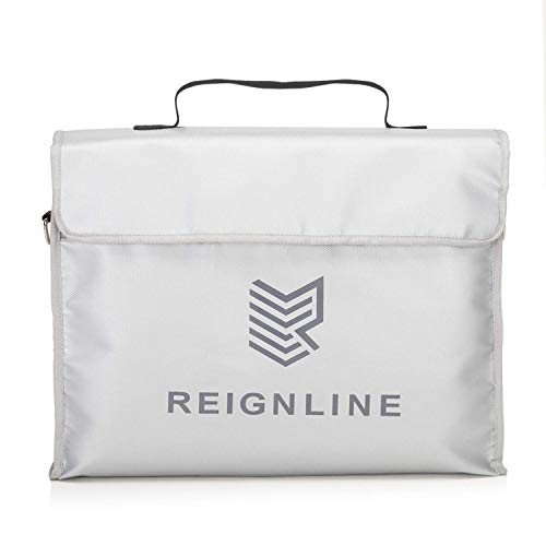 Fireproof Waterproof Document Bag With Extra Large Storage (15x12x5) - REIGNLINE Gray Premium Quality Fire Proof Bags Are Equipped With Silicone Coated Fiberglass Material, And Metal Strap Connectors.