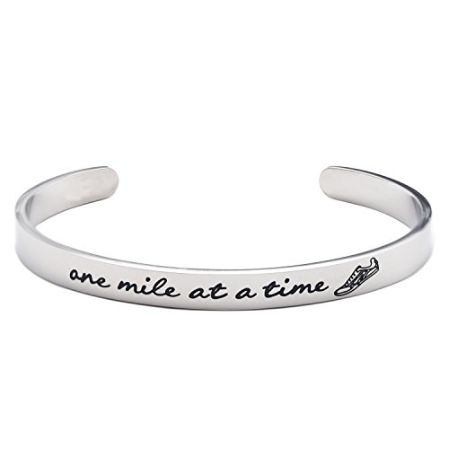 LParkin Gifts for Runners Marathon Jewelry One Mile at A Time Bracelet Stainless Steel (Cuff)