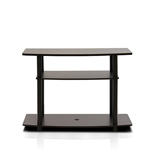 FURINNO Turn-N-Tube No Tools 3-Tier TV Stands, Dark Brown/Black (Stands Wooden Tv Flat Screen)