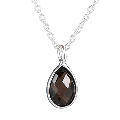 Nathis Simple and Delicate Necklace Tear-Drop Shaped Pendant of Smokey Quartz Gemstone