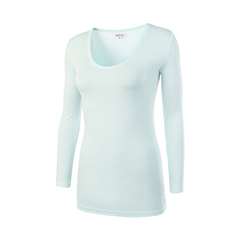 Vetemin Women's Basic Fitted Soft Lightweight 3/4 Sleeve Deep V Neck T shirt Tee Light Green M