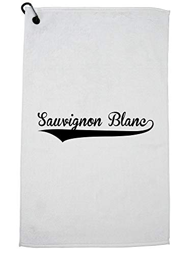 Hollywood Thread Trendy Simple Sauvignon Blanc Large Font Word Graphic Golf Towel with Carabiner -
