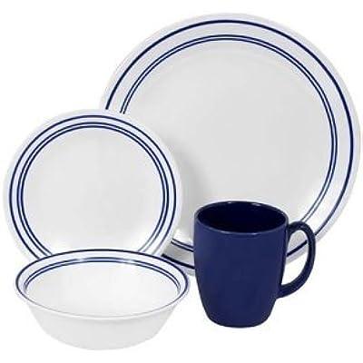 Click for Premium High Quality Corelle Livingware 16 piece Dinnerware Set Service for 4 Classic Caf? Blue