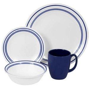 Premium High Quality Corelle Livingware 16 piece Dinnerware Set Service for 4 Classic Café Blue