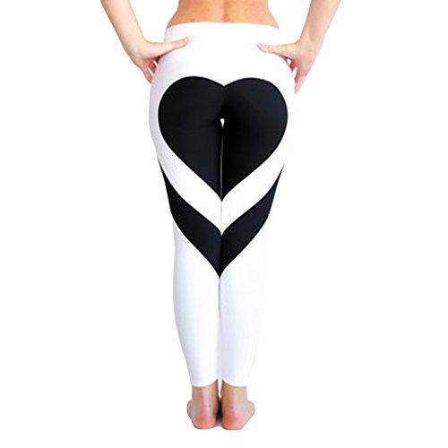Dresses For Heaven (Women Casual pants HEAVEN 2017 - Women's Tights Love Heart Booty Yoga Leggings Color Block Workout Pants Trousers - White Base + Black XXL)