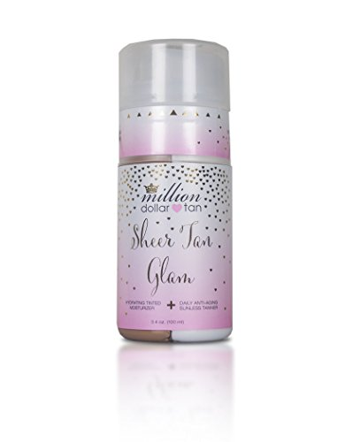 Everyday Gradual Tan Face - Tinted Moisturizer + Gradual Sunless Tanner for Face- Sheer Tan Glam by Million Dollar Tan - Dual Chamber Bottle Allows for Custom Application