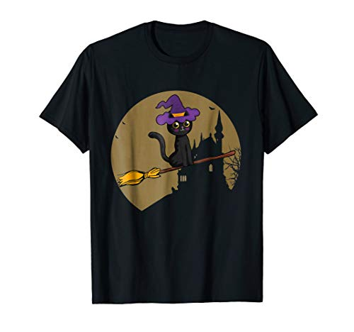 Black Cat Witch Halloween Costume T-shirt Goulish Party -