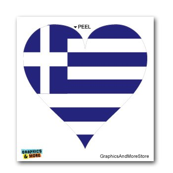 - Greece Greek Flag Heart - Window Bumper Laptop Sticker