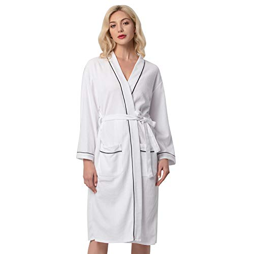 Couner Womens Bath Robes Knee Length Unisex Long Sleeve Loose Lightweight Waffle Robes with Pockets and Self-Belt(White,S) ()