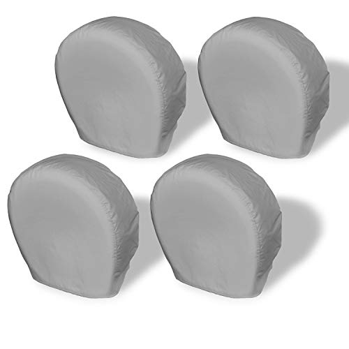 Explore Land Tire Covers 4 Pack - Tough Vinyl Tire Wheel Protector for Truck, SUV, Trailer, Camper, RV - Universal Fits Tire Diameters 26-28.75 inches, Charcoal