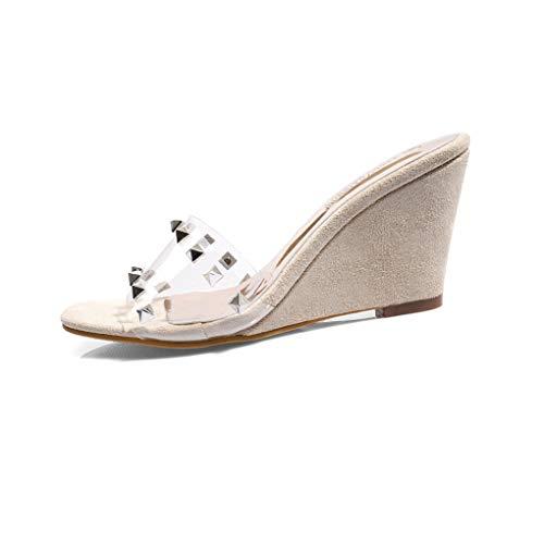 VOWAN Women's Studded Clear Wedges Open Toe High Heel Sandals Suede Rivets Transparent Dress Pumps Sandal