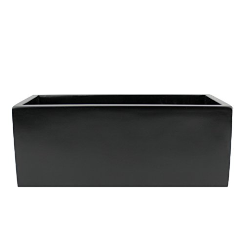 Belmont Rectangle Fiberglass Planter Box Black 30 Inch