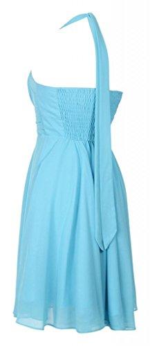 My Evening Dress - Elegante vestido corto de cóctel de gasa y cuello halter vestido formal ideal para damas de honor azul claro
