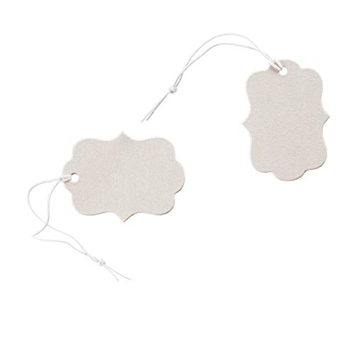 Get Organized 30007162 Jewelry Price Tags with Elastic Strings, Cream, 100 Pieces, ()
