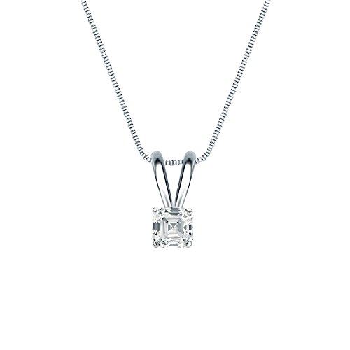 14k White Gold 4-Prong Basket Asscher-cut Diamond Solitaire Pendant (1/4 cttw, H-I, I1-I2)