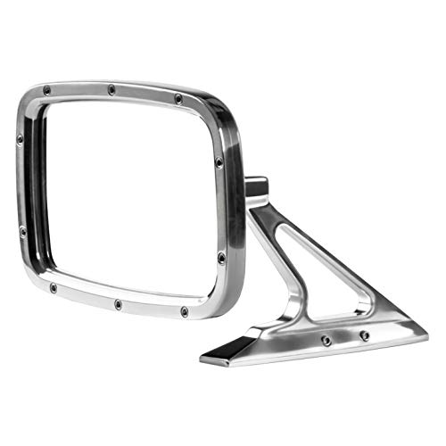Rectangular Billet Convex Glass Rear View Door Mirror, Polished