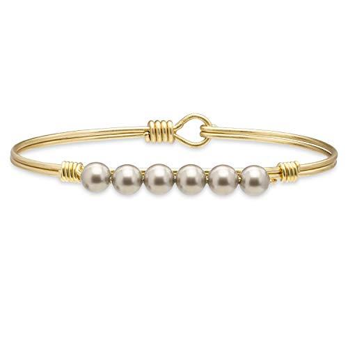 (Luca + Danni Crystal Pearl Bangle Bracelet in Platinum - Regular/Brass Tone )