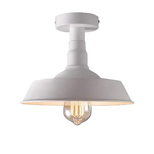 (BAYCHEER HL416381 Industrial Wrought Iron Warehouse Semi-Flush Mount Ceiling Light Ceiling Lighting with 1 Light White)
