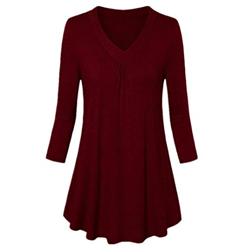 Henleys,Toimoth Womens Fashion Plus Size Solid Long Sleeve V-Neck Pleated T-Shirt Tops Blouse Tunics(Wine,5XL)