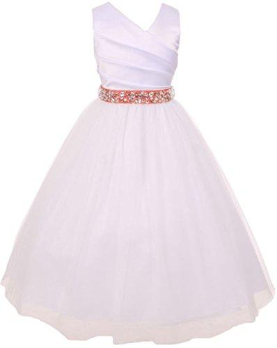 - Big Girls' White Rhinestone Belt Communion Flowers Girls Dresses Coral 10 (MB27K6)