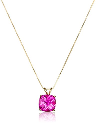 14k Yellow Gold Cushion Checkerboard Created Pink Sapphire Pendant Necklace (8mm)