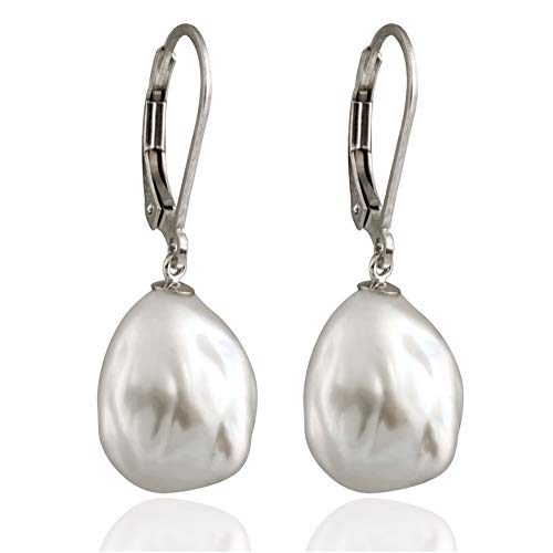 - Splendid Pearls Lever-back Dangling Earrings 10-12mm White Baroque Freshwater Cultured Pearls (white-gold)