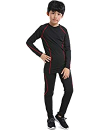 Boys Kids' Athletic Base Layer Compression Underwear Shirts and Leggings Thermal Set
